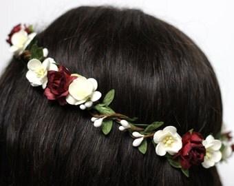 Rustic Floral Crown, Headpiece Flower Crown, Woodland Circlet, Berry Crown, Bridal Headpiece, Hair Accessories, Boho, Burgundy Flower Crown