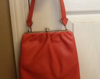 Melon / coral vintage purse late 50's early 60's with mirror