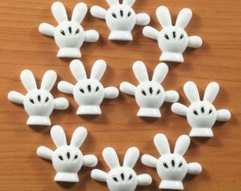 SET of 5 Mickey Mouse Hands Cabochons Resin Flatbacks Scrapbooking DIY Hair Bow Center