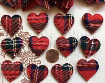 SET of 20 Plaid Gingham Heart Applique/Christmas Holiday/bow/craft/Green/Red