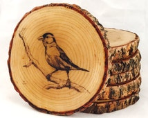 Customizable Image or Logo Natural Wood Coasters (Water Resistant 4 or 6 Pack)
