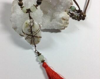 Solar Quartz Amazonite Tassel Necklace