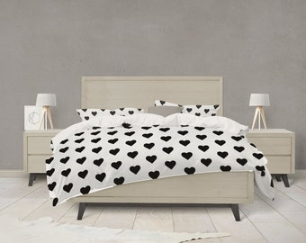 Black and white hearts duvet cover
