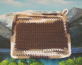Upcycle hand crochet double thick hot pad UHP 005