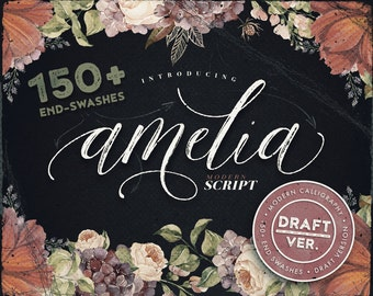 Script font - Amelia draft version. Modern calligraphy font with dancing baseline, 150+ end-swashes.
