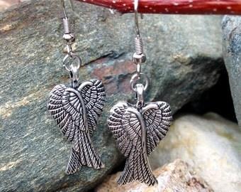Double Angel Wing Dangle Earrings