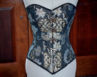Classic brocade corset with steampunk metal hooks. Gothic Victorian, steampunk affordable cheap corset, girlfriend's gift, historical corset