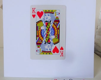 King of Hearts, Fathers Day, Love Card,Playing Card, Valentines Day, Boyfriend, Valentines Day Card