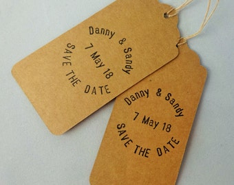 Luggage Tag, Save The Date Tag, Hand Stamped