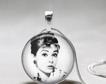 Audrey Hepburn Pendant Necklace -Breakfast at Tiffany's Necklace -Audrey Hepburn Black and white silver plated pendant