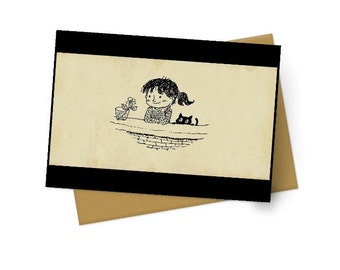 Flower, Girl & a Cat Note Cards - Boxed Set of 10 with Envelopes