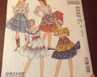 McCall's Sewing Pattern 6332 Misses Top Skirt Petticoat Gypsy Rockabilly Tavern  Peasant Pirate Halloween Country Western  Size 6 8 10