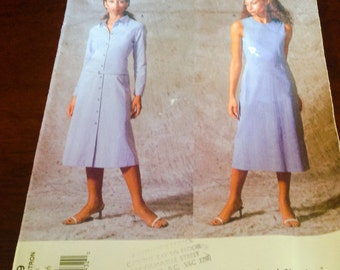 Vogue Calvin Klein 2439 Sewing Pattern Fitted A Line Dress Close Fitting Front Buttons  Long Sleeve  Sleeve Less  Straight Skirt 12 14 16