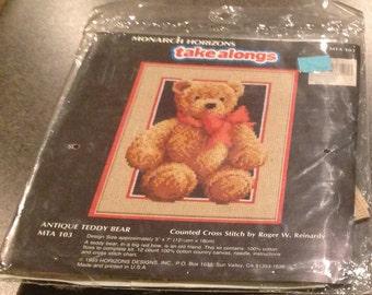 Monarch Horizons Counted Cross Stitch Kit Takealongs Antique Teddy Bear MTA 103 5x7 Sealed New