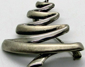 Vintage Sterling Silver Christmas Tree Brooch Pin  BA Ballou Modernist Modern Abstract Holiday Light Gold Wash