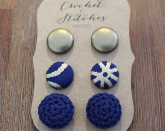 Button Earings ~ Set of three ~ crochet earing
