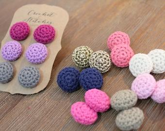 Crochet Earrings ~ Button Earrings ~ Ladies Earrings