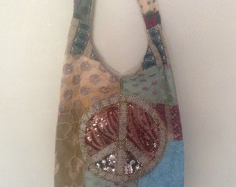 Tapestry Purse  with Sequined Peace Sign