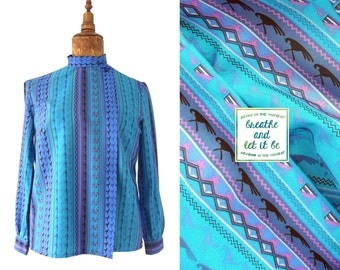 CLEARANCE! Vintage Psychedelic Asymmetric Blouse with Parrots | Graphic Printed Long Sleeve Shirt | breathe and let it be