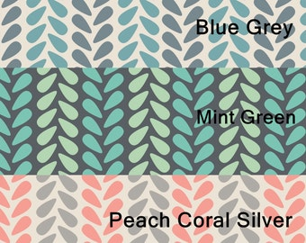Knit Stitch in Blue Grey, Mint Green, Peach Coral Silver < Zoey Collection by Camelot Fabrics < Fabric by the Yard > You choose the color