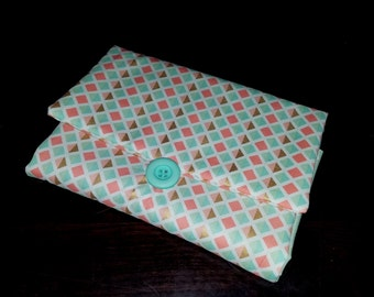Travel Changing Pad Clutch - coral mint gold changing on the go diaper bag changing pad