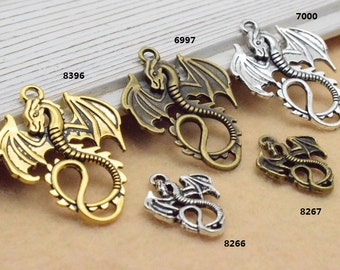 Dragon Charms-Antique Silver/Antique Bronze/Antique Gold Flying Dragon Charms Pendant 28x35mm