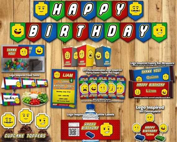 DIY Lego Inspired Party Kit Download Banner Invite Cupcake Toppers Favor Tags Centerpiece Food Tents Treat Bag Lego Birthday Party Pack