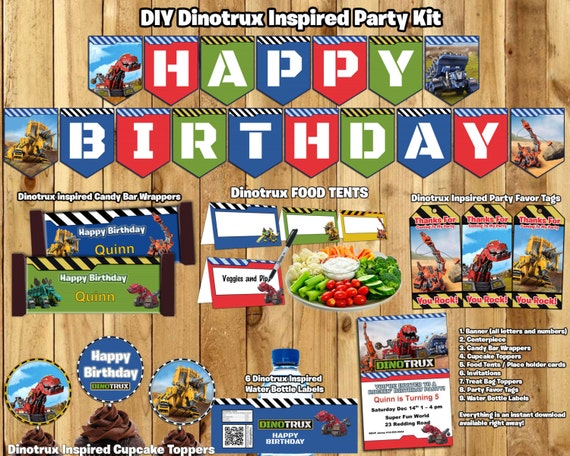 Dinotrux Birthday Party Kit Download Banner Invite Cupcake Toppers Favor Tags Bottle labels Centerpiece Dinotrux Birthday Party Pack