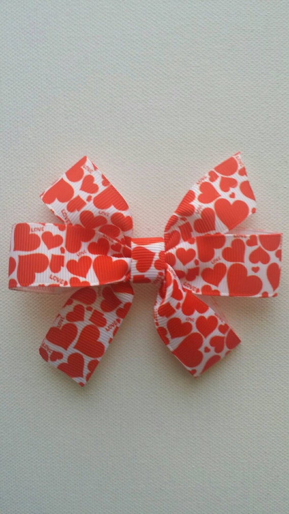 Red  Hearts Hairbow