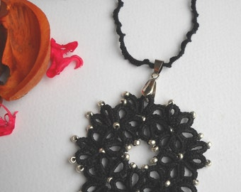 Rosette necklace Tatting tatting