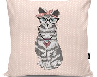 Decorative pillow Hipster Cat