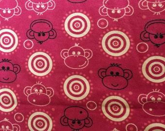 Pink Monkey Flannel