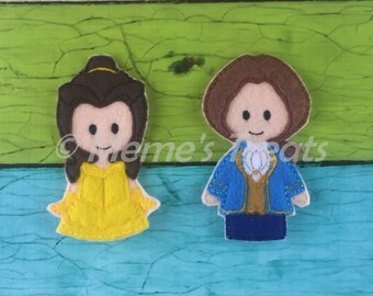 Belle & Prince Adam - Set of 2 Finger Puppets Inspired by Beauty and the Beast
