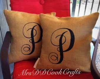 Burlap Pillow, Monogram Burlap Pillow, Rustic Pillow, Throw Pillow, Burlap Pillow, Outdoor Pillow, Custom Pillow, Last Name Pillow