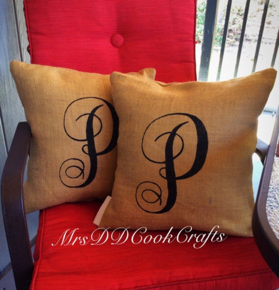 Burlap Throw Pillows Etsy : Burlap Pillow Monogram Burlap Pillow Rustic Pillow Throw
