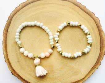 Baby Bracelet, Baby Jewelry, Tassel Bracelet, Baby Shower Gift, Blessing Bracelet, Baby Gift, Baby Bracelet WHITE, PINK & GOLD