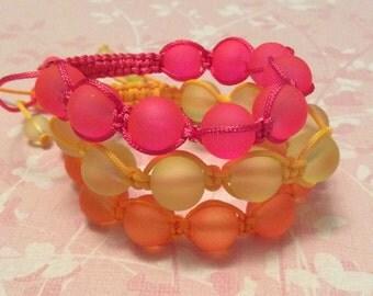 Pink Shamballa style bracelet, beaded bracelet, yellow bracelet, orange bracelet, rainbow bracelet