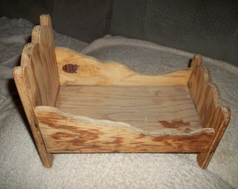 Handmade Wooden Doll Bed 11x8