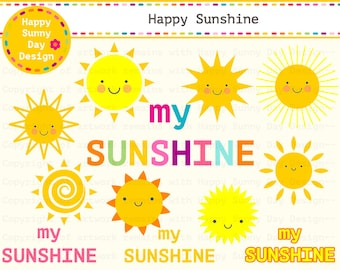 40% off Sunshine / My Sunshine / Sun / Happy Sunshine Clip Art - Instant Download - C015