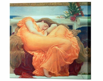 Flaming June Canvas Print by Frederic Leighton Framed Ready to Hang Wall Art Picture