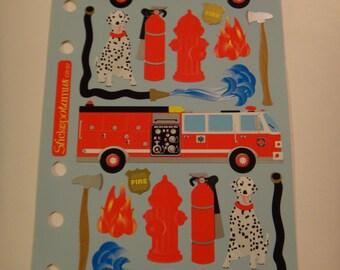 Free Shipping!  Stickopotamus  - Fire Fighter - CR-07  - Dalmatians, Fire Trucks, Ax, Ladders, Fire Hose, Badge, Extinguisher - New - SNSS3
