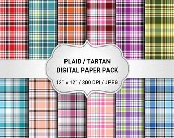 Plaid Digital Paper, Plaid Patterns, Tartan Digital Paper, Plaid Background, Digital Scrapbook Paper, Geometric Digital Paper