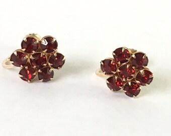 Vintage garnet screw back earrings