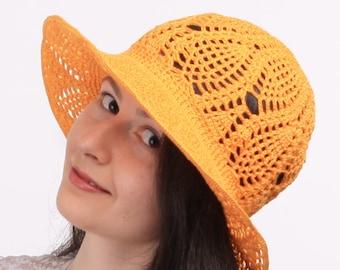 Women's Suns Hats / Crochet Beanie / Summer Orange Hat / Lace Cotton Hat / Cloche Stylish Hat / Beach Hats / Suns Cloche Cap / Gift Ideas