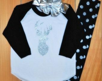 Deer raglan tee, polka dot legging, and big bow headband