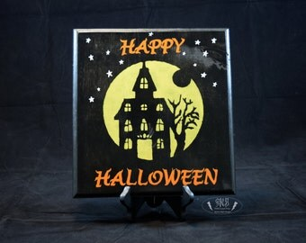 Happy Halloween Haunted House Silhouette Sign