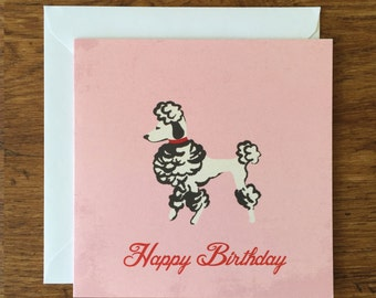Retro Poodle - Birthday Card