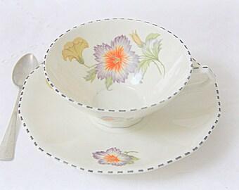 Vintage Dutch Mosa Maastricht Porcelain Teacup and Saucer, Flower Decor