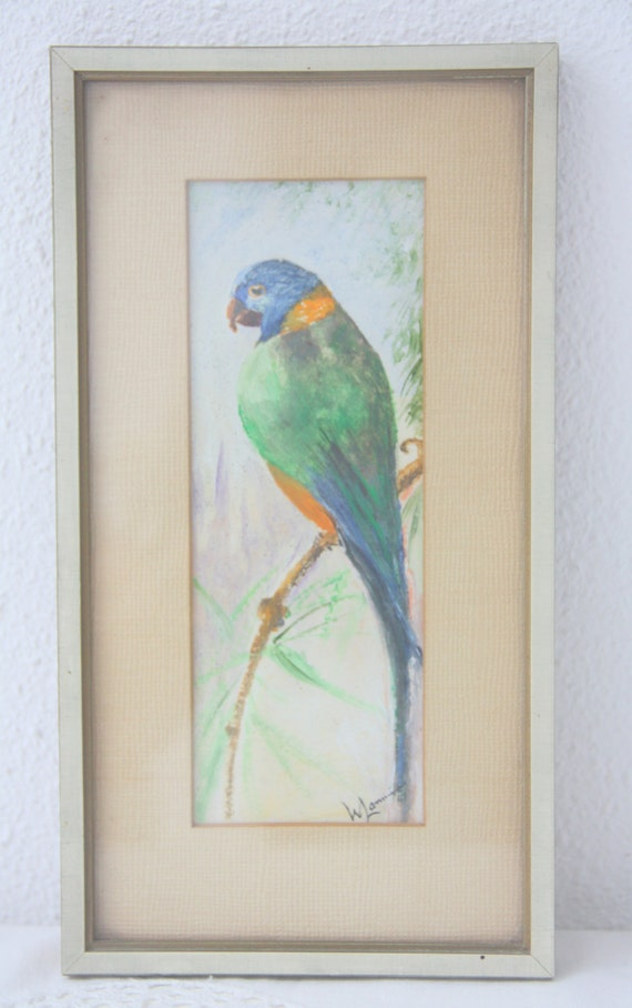 Vintage Small Parrot Oil Painting Under Glass in Wooden Frame, Bird Painting