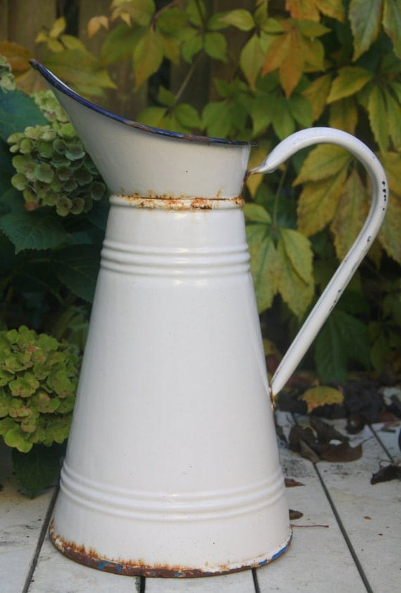 Vintage Large French Enamel Pitcher, White with Blue Rim, Water Jug